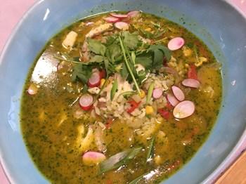 Aguadito de Pescado  (Pirinçli Balık Çorbası)