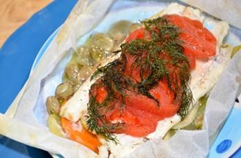 Fırında Kağıtta Sebzeli Dil Balığı