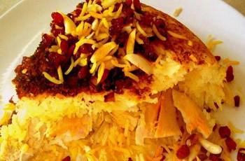İran Usulü Patlıcanlı, Yoğurtlu Pilav