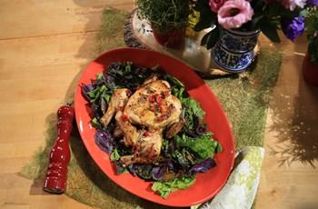 Vinaigrette ve Reyhanlı Salata ile Tuğla Altında Tavuk